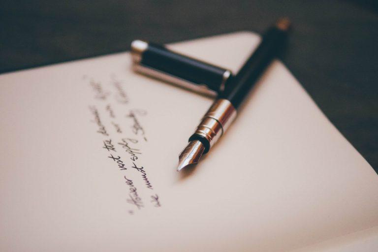 List pisany piórem